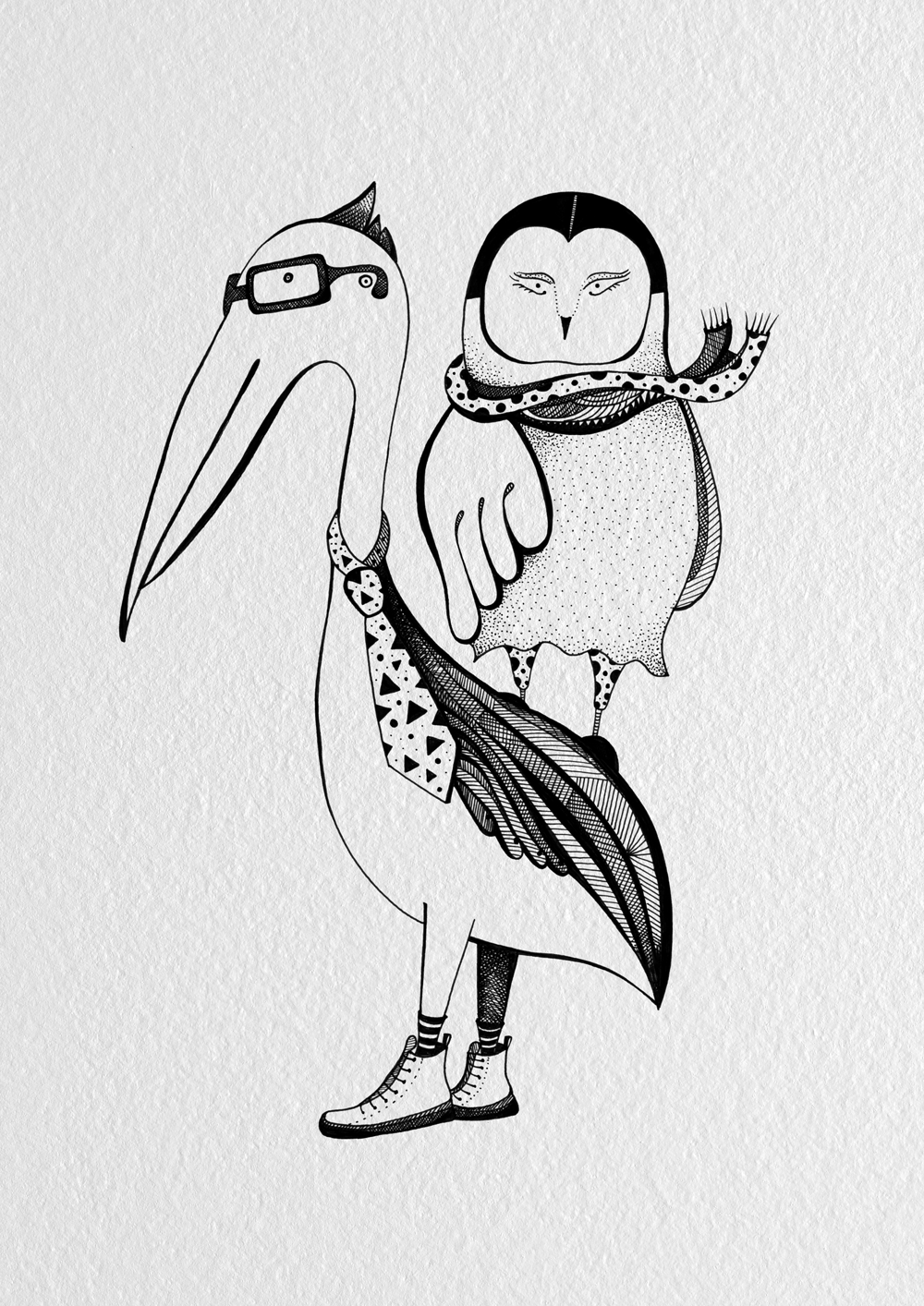 Owl & Pelican Wedding illustration | zazdesign graphic lab